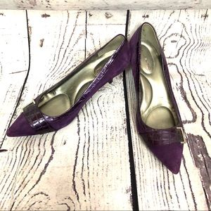 Bandolino purple faux leather pointed pumps